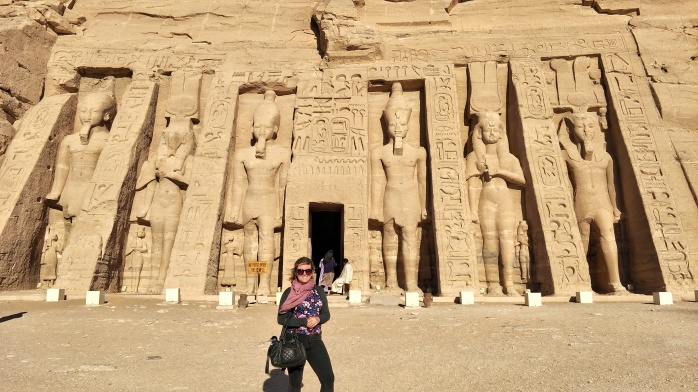 Standing in front of the Temple dedicated to Nefertiti
