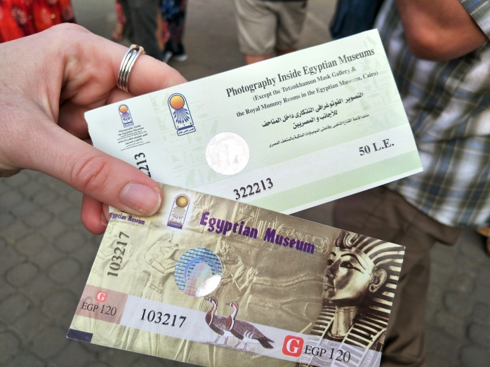 Entrance tickets to the Cairo museum