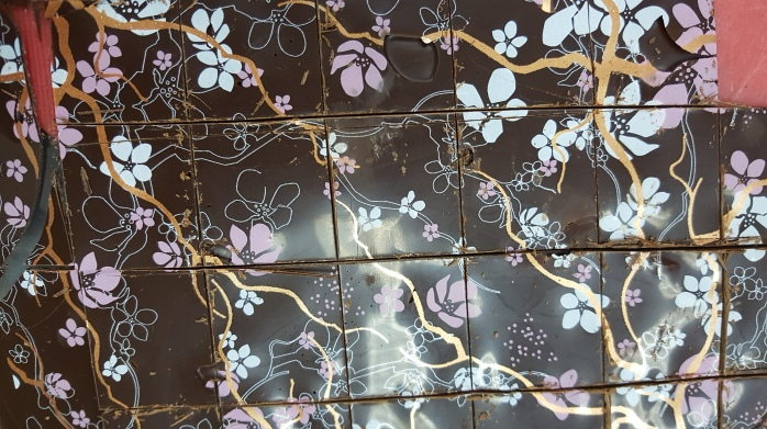 Chocolate slides with cherry blossom prints
