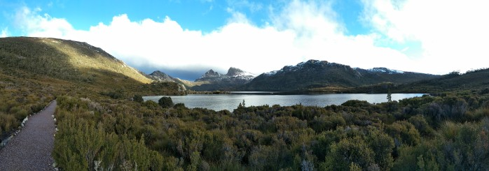 A Panorama shot of Cradle Mountain