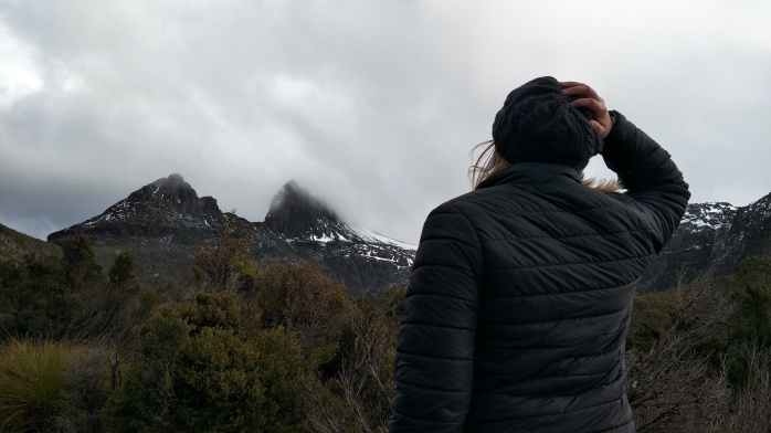 Chasing Emma looking at Cradle mountain