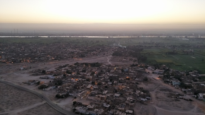 Views over Luxor as the sun rises. You can see the contrast of the green river bank and the dessert of the Valley of the Kings.