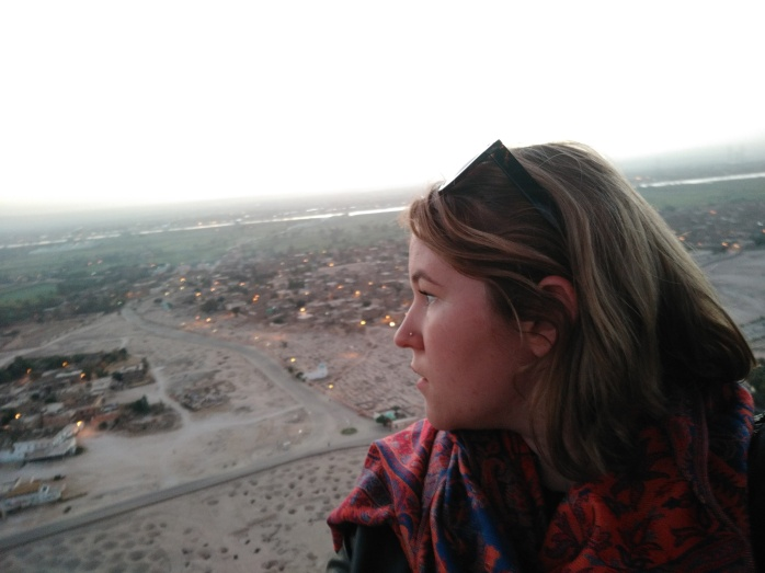 Chasing Emma looking over the desert of the Valley of the Kings in Luxor, Egypt.