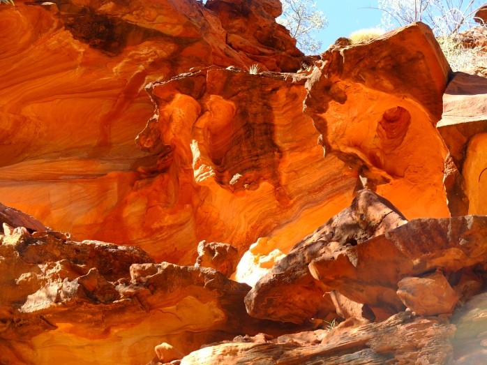 Burnt orange rock formations at Kings Canyon