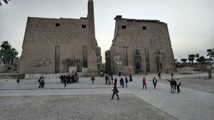 The entrance to Luxor Temple Complex at sunset