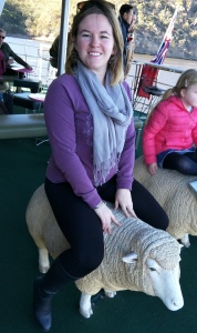 Sitting on a sheep seat on the MONA Ferry