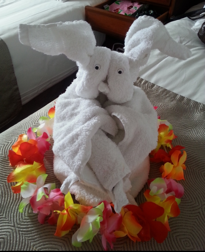 Towels folded into a bunny rabbit