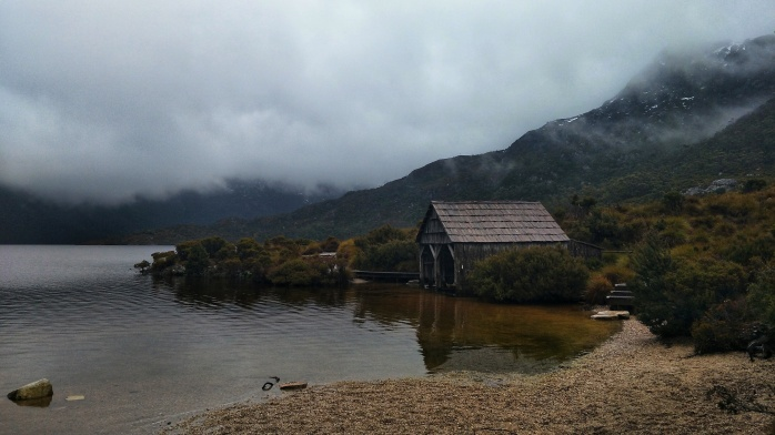 A boat cabin on the edge of Dove Lake