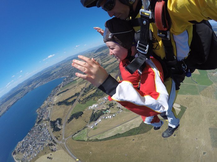 Parachuting over Lake Taupo in New Zealand