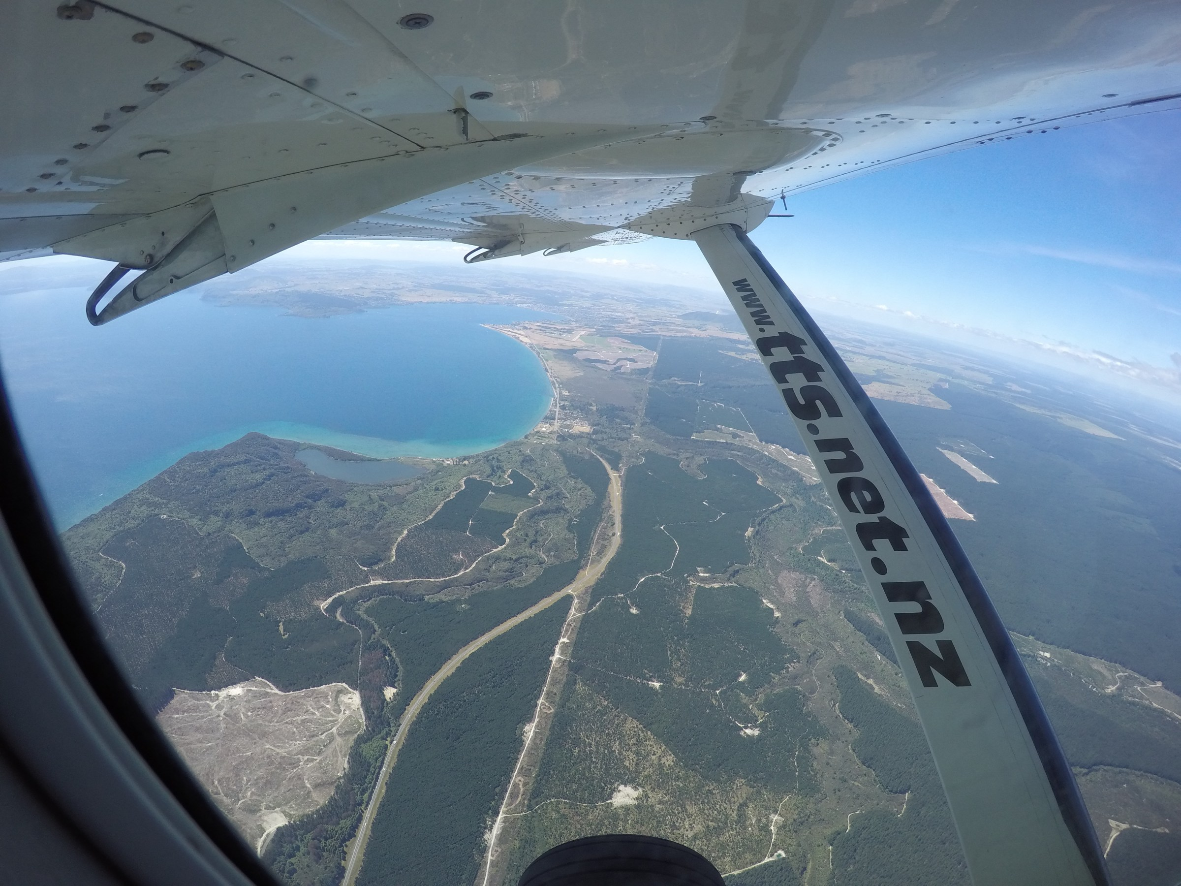 Looking out the plane window over Lake Taupo in New Zealand