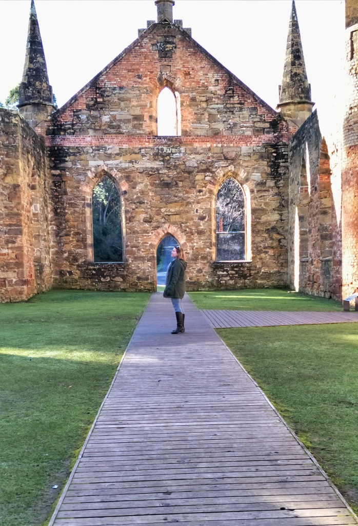 Standing in the middle of the Port Arthur Church
