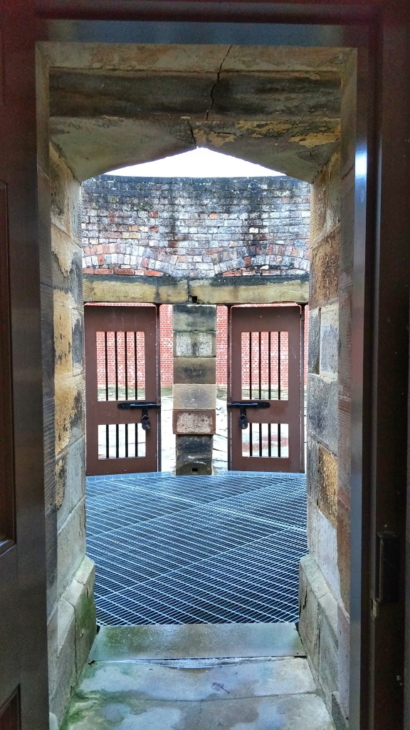 The view from the doorway out into the courtyard at the Silent Prison
