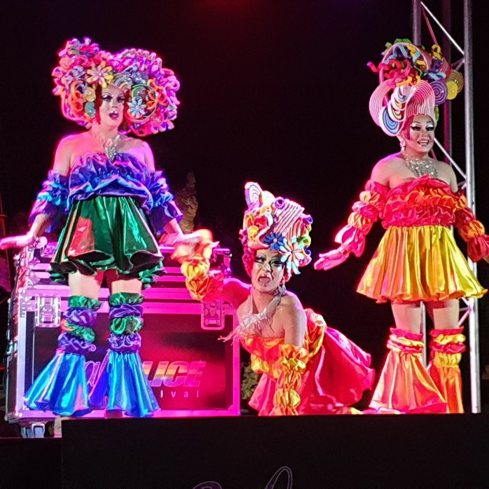 Three Drag Queens performing at the FABalice Festival