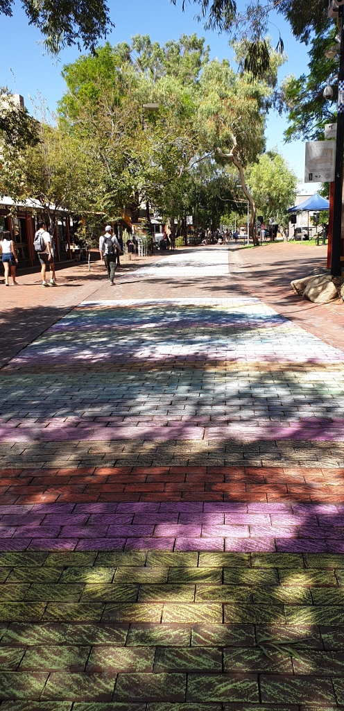 The Todd Mall coloured at a Pride rainbow flag