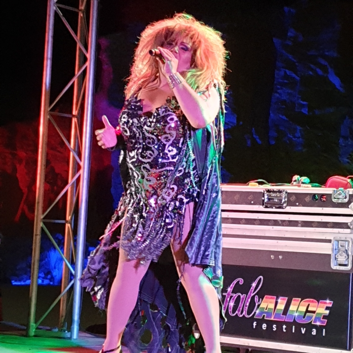 A Drag Queen performing in a Tina Arena Tribute Show at the FABalice Festival