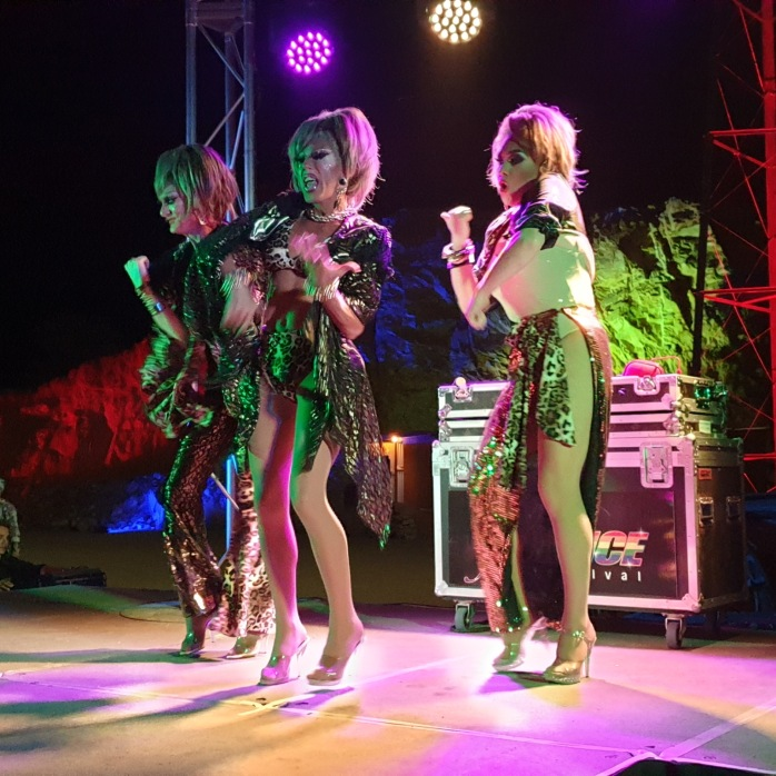 Three Drag Queens performing in a Tina Arena Tribute Show at the FABalice Festival