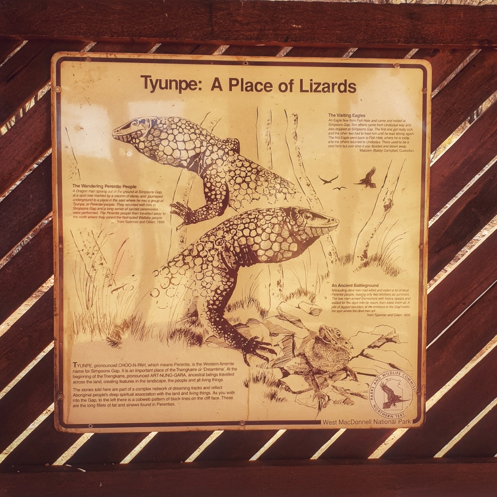 Tyunpe: A Place of Lizards sign at the entrance to Simpson's Gap, Alice Springs