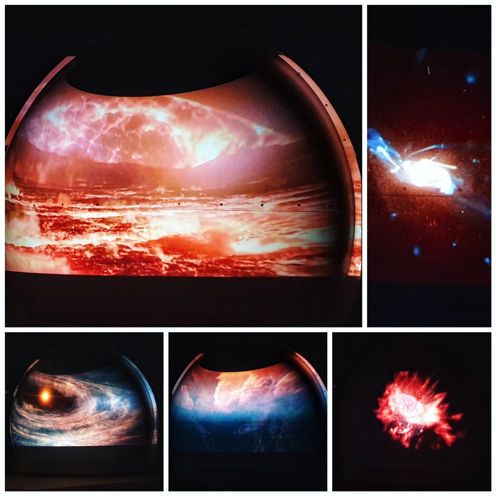 Four images depicting the formation of planets and solar systems.
