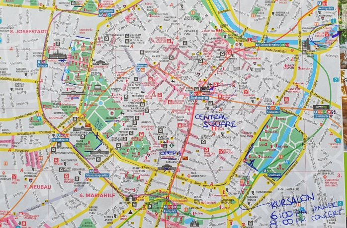 A map of Budapest showing roams, train lines, and the locations of many tourist locations