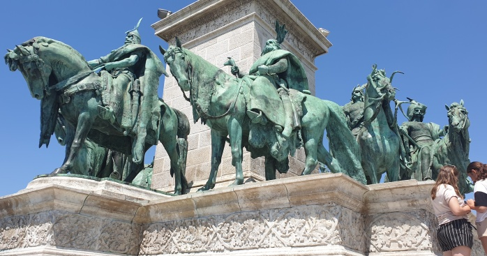Some of the centre statues at Hero's Square in Budapest, Hungary.