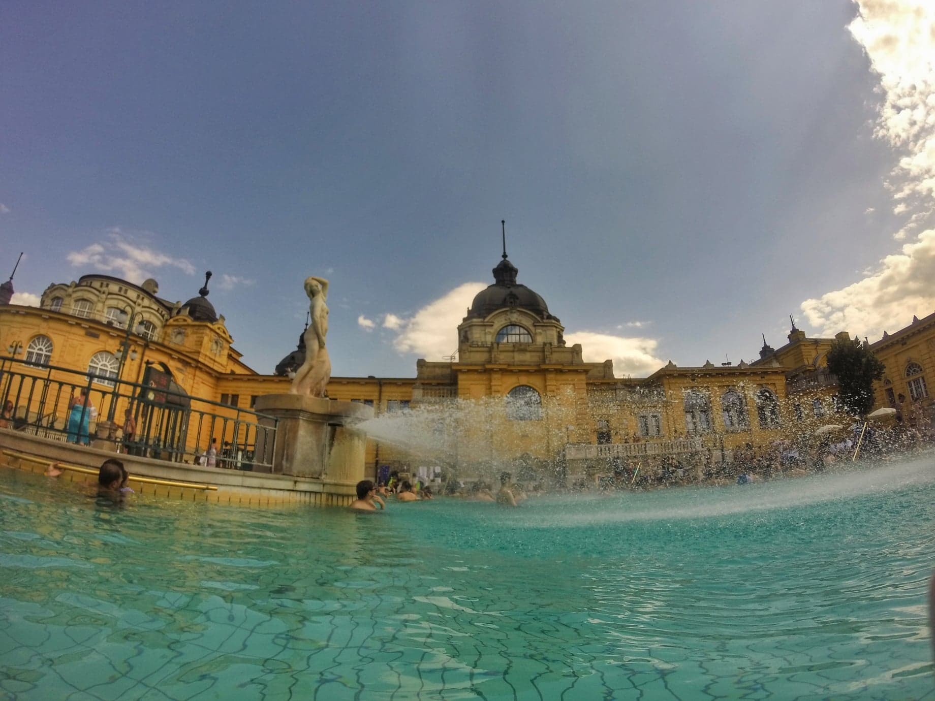 A view of the iconic yellow buildings at the Szechenyi Baths, Budapest.