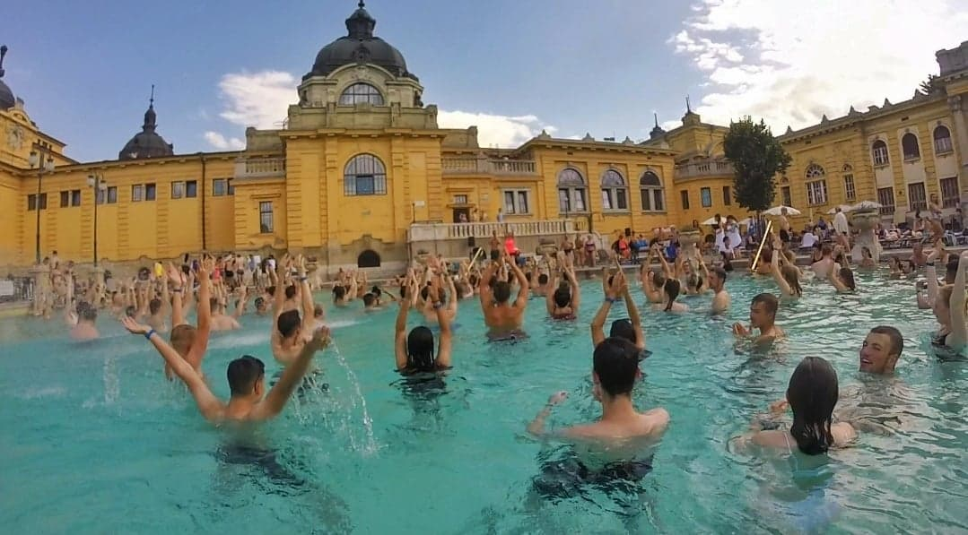 A view of some people participating in some water aerobics at the Szechenyi Baths.