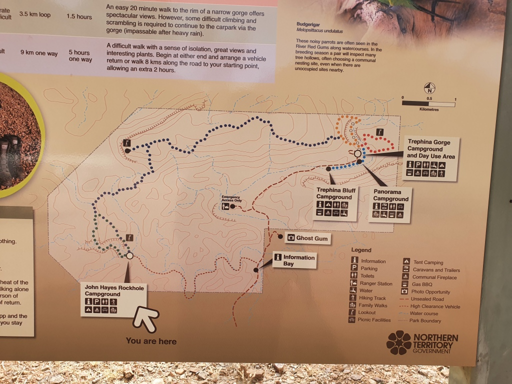 The map of the various walks available at Trephina Gorge