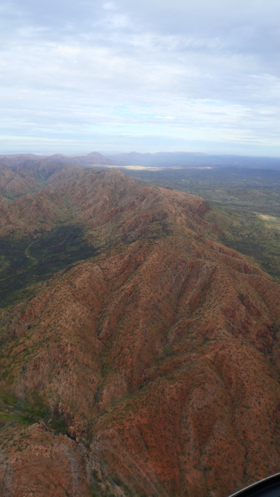 Scenic flight over the Red Centre, Australia showing the constrast of reds and greens.